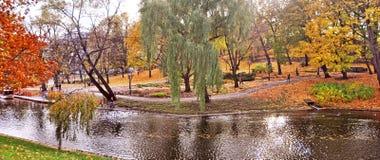 Autumnal park in the center of Riga, Latvia. stock photo