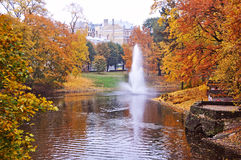 Autumnal park in the center of Riga, Latvia. royalty free stock images