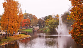 Autumnal park in the center of Riga, Latvia. stock photos