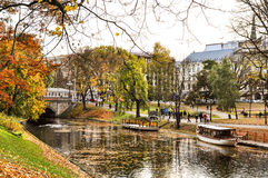 Autumnal park in the center of Riga, Latvia Stock Photo