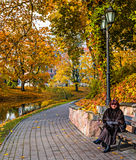 Autumnal park in the center of Riga, Latvia Royalty Free Stock Photo