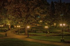 Autumn in central public park in Riga at night, Latvia. Stock Photography