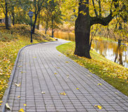Autumnal park and channel in Riga Stock Images