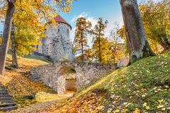 Autumnal park in medieval part of old Cesis city, Latvia, Europe Stock Photography