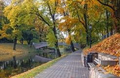 Autumnal park in Riga, Latvia Stock Image