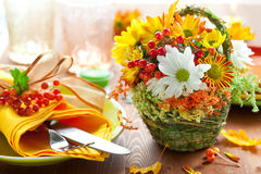 Autumnal place setting Stock Photo