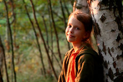 Autumnal portrait at sunset royalty free stock images