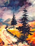 Autumnal road. Road in autumn - I am artist of this artwork Vector Illustration