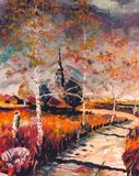 Autumnal road. Road in autumn - I am artist - author of this artwork stock illustration