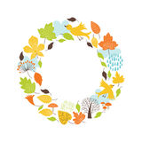 Autumnal round frame royalty free illustration