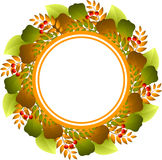 Autumnal round frame Stock Photo