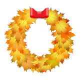 Autumnal round frame. Wreath of autumn leaves. Background with h. And drawn autumn leaves. Fall of the leaves. Sketch, design elements. Vector illustration Stock Images