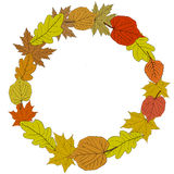 Autumnal round frame. Wreath of autumn leaves. Royalty Free Stock Photo