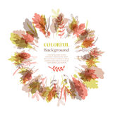 Autumnal round frame. Wreath of autumn leaves Stock Images