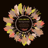 Autumnal round frame. Wreath of autumn leaves Stock Image