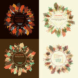 Autumnal round frame. Wreath of autumn leaves. Set of autum round frames. Wreaths of autumn leaves. Background with hand drawn autumn leaves. Fall of the leaves royalty free illustration