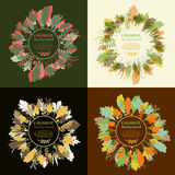 Autumnal round frame. Wreath of autumn leaves. Set of autum round frames. Wreaths of autumn leaves. Background with hand drawn autumn leaves. Fall of the leaves Royalty Free Stock Photo