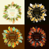 Autumnal round frame. Wreath of autumn leaves. Set of autum round frames. Wreaths of autumn leaves. Background with hand drawn autumn leaves. Fall of the leaves stock illustration
