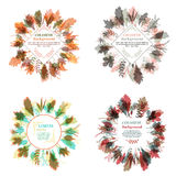 Autumnal round frame. Wreath of autumn leaves. Set of autumnal round frames. Wreaths of autumn leaves. Background with hand drawn autumn leaves. Fall of the royalty free illustration