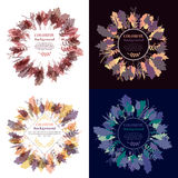 Autumnal round frame. Wreath of autumn leaves. Set of autumnal round frames. Wreaths of autumn leaves. Background with hand drawn autumn leaves. Fall of the Royalty Free Stock Image