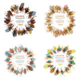 Autumnal round frame. Wreath of autumn leaves. Set of autumnal round frames. Wreaths of autumn leaves. Background with hand drawn autumn leaves. Fall of the Stock Photography