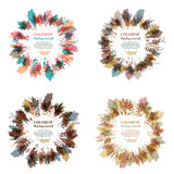 Autumnal round frame. Wreath of autumn leaves. Set of autumnal round frames. Wreaths of autumn leaves. Background with hand drawn autumn leaves. Fall of the Royalty Free Stock Photo