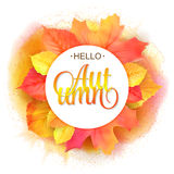 Autumnal round frame. Wreath of yellow orange red watercolor imitation leaves. Hello autumn lettering.  design. Elements. Vector illustration. Not trace Stock Photography