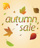 Autumnal sale from leaves. Stock Image