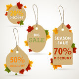 Autumnal Sale Tags Stock Image