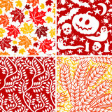 Autumnal seamless collection. Set of autumnal seamless ornaments Royalty Free Stock Photos