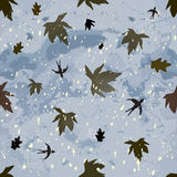 Autumnal seamless composition with swallows,leafs,snowfall,cloudy sky. Autumnal seamless composition with dark cloudy sky,leaf fall,hovering swallows and Royalty Free Stock Photos
