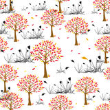 Autumnal seamless pattern. With trees and plants Royalty Free Stock Images