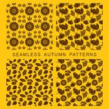 Autumnal seamless pattern. Leaves of trees, turkey, corn and pumpkin. Autumnal seamless pattern. Leaves of trees, turkey, corn and pumpkin Royalty Free Stock Photos