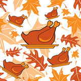 Autumnal seamless pattern with turkeys Stock Photos