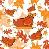 Autumnal seamless pattern with turkeys Stock Photos