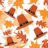 Autumnal seamless puttern with pilgrim hats Royalty Free Stock Images