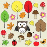 Autumnal stickers. Set of autumnal bright stickers royalty free illustration