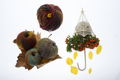 Autumnal still life with yarns Stock Photo