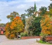 Autumnal street in old European town Royalty Free Stock Photography