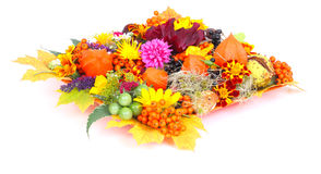 Autumnal table decoration. In front of white background Stock Photos