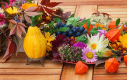 Autumnal table decoration on the terrace Stock Images