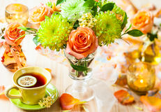 Autumnal table setting Stock Photo