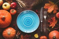 Autumnal Table Setting For Halloween Or Thanksgiving Day Royalty Free Stock Photos
