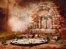 Autumnal temple ruins. Autumnal scenery with old fantasy temple ruins Royalty Free Stock Photography