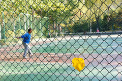 Autumnal tennis court Royalty Free Stock Images