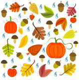 Autumnal texture. With leaves, pumpkins and mushroom. Vector illustration royalty free illustration