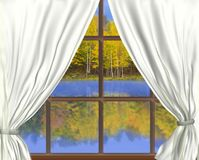 Autumnal Throught Window, Stock Image