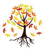 Autumnal tree with roots. Autumnal tree with colorful leaves and roots royalty free illustration