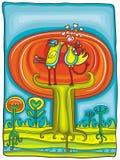 Autumnal tree - vector card Stock Photo
