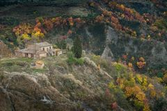 Autumnal trekking in the province of Siena, from Buonconvento to Monte Oliveto Maggiore Abbey Stock Image